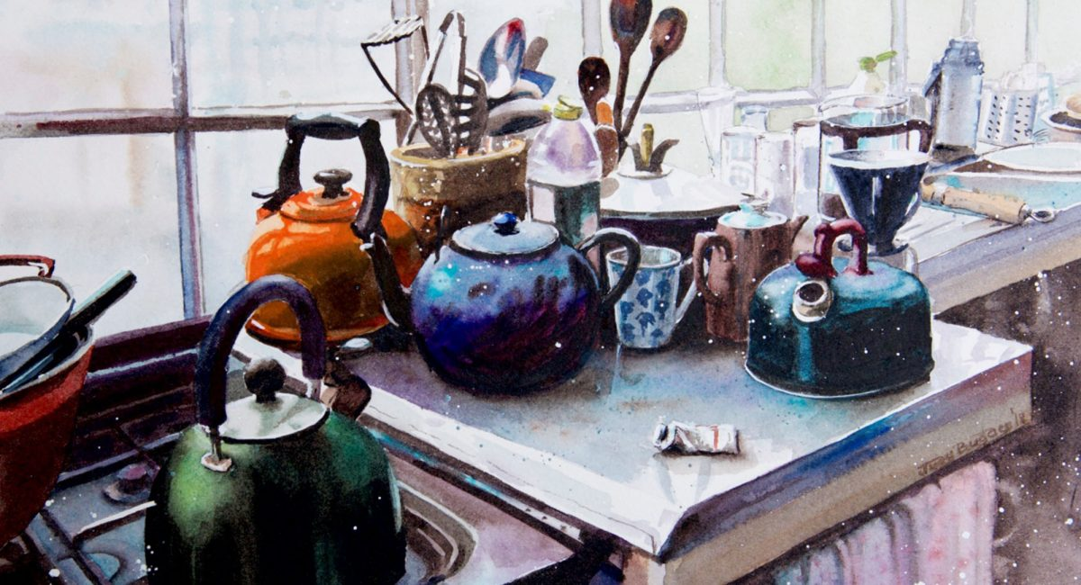 Kitchen scene painting